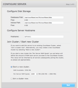 Couchbase create new cluster