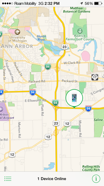 iPphone 5s Roam Mobility, Outside Ann Arbor, Michigan - Map
