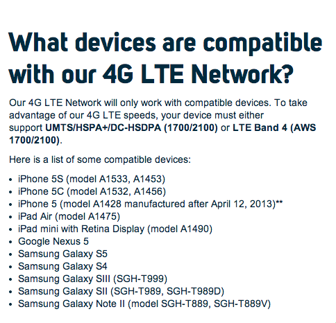 Roam Mobility LTE 4G device list