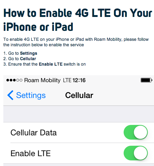 Roam Mobility - How to enable 4G LTE on iPhone