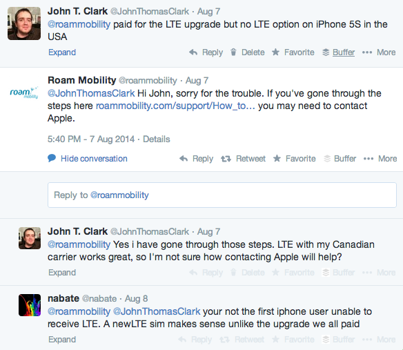 Twitter conversation - Roam Mobility no LTE option iPhone 5S